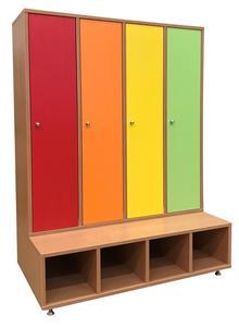 Négyszemélyes, hosszúajtós öltözőszekrény, színes