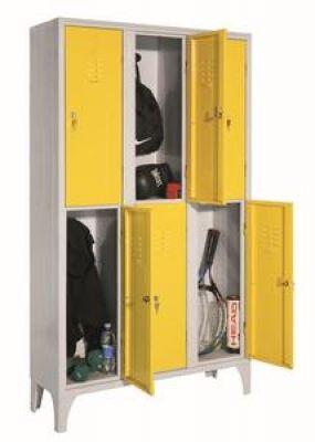 Hat rövidajtós öltözőszekrény, helytakarékos